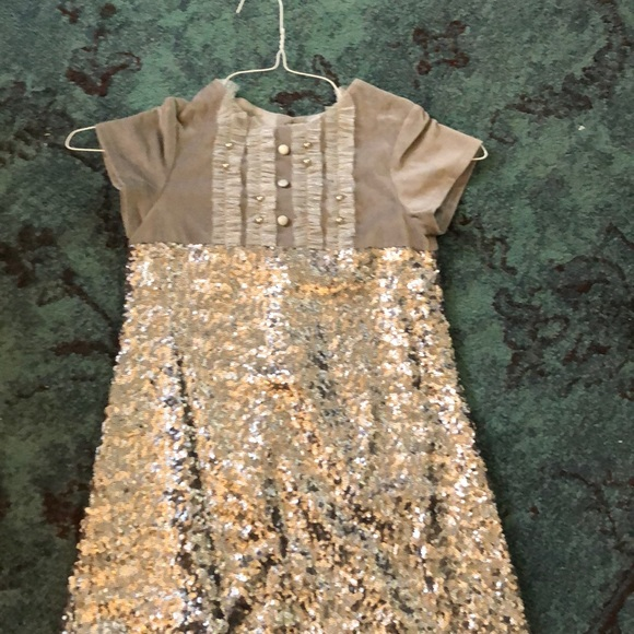 Girls Holiday grey and  silver sequin dress